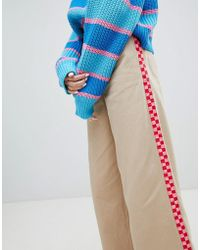 Lazy Oaf - Wide Leg Trousers With Checkerboard Stripe Detail - Lyst