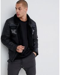 ASOS - Faux Shearling Jacket With Aztec In Black - Lyst