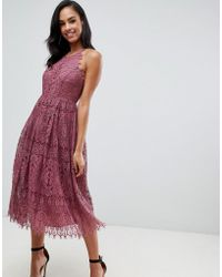 ASOS - Lace Pinny Scallop Edge Prom Midi Dress - Lyst