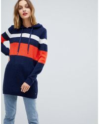 Esprit - Stripe Hooded Jumper Dress - Lyst