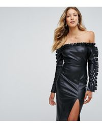 Missguided - Leather Look Ruffle Bardot Pencil Dress - Lyst