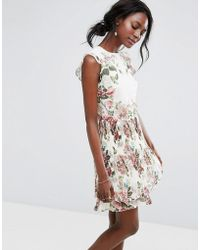Oasis - Royal Worcester Floral Ruffle Detail Pleated Skater Dress - Lyst
