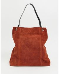 Lyst - ASOS Bowler Bag With Statement Strap in Purple 79e39233d6565