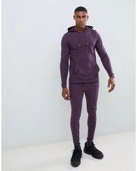 ASOS - Felpa attillata con cappuccio/joggers super skinny viola scuro - Lyst