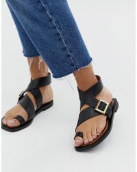 Office - Serenity Black Leather Flat Toe Loop Sandals - Lyst