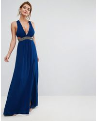 ASOS - Embellished Waist Strap Back Maxi Dress - Lyst