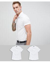 26ef768db15cb Lyst - Asos Skinny Shirt In White 2 Pack Save 15% in White for Men