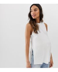 29ca86ed33fa9 ASOS - Asos Design Maternity Sleeveless Top With Side Split In Linen Mix In  White -
