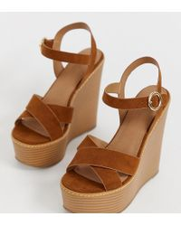 ASOS - Wide Fit Talia High Wedges In Tan - Lyst