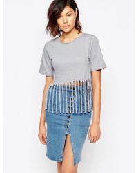 Good Vibes, Bad Daze - Good Vibes Bad Daze Jersey Top With Fringing - Lyst