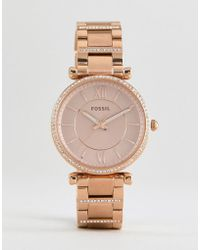 Fossil - Es4301 Carlie Bracelet Watch In Rose Gold 35mm - Lyst