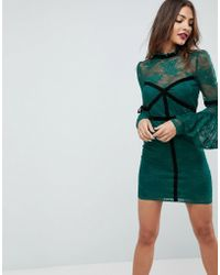 ASOS - Asos High Neck Lace Bodycon Mini Dress With Velvet Tape - Lyst
