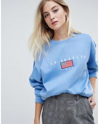 Daisy Street - Relaxed Sweatshirt With Vintage Los Angeles Embroidery - Lyst