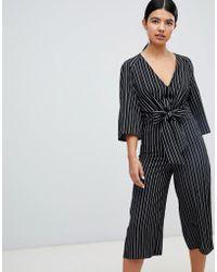 Miss Selfridge - Tie Front Stripe Culotte Jumpsuit - Lyst