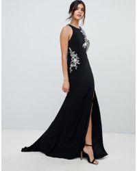 Forever Unique - Floral Applique Maxi Dress - Lyst