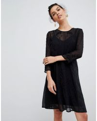 d929748f1fd6 Lyst - Y.A.S High Neck Lace Deail Midi Dress In Black in Black