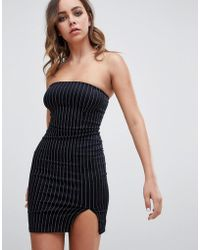 Motel - Strapless Pinstripe Bodycon Dress - Lyst