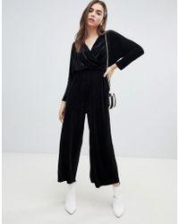Monki - Velvet Wrap Front Jumpsuit In Black Stripe - Lyst