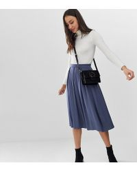 a72840800 ASOS Asos Design Tall Cotton Midi Skirt With Button Front in Blue - Lyst