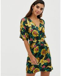 0a5fec91dc0c Boohoo Floral Print Tie Front Skater Dress in Natural - Lyst