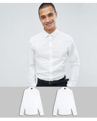 ASOS - Skinny Shirt 2 Pack In White Save - Lyst