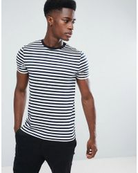 ASOS - Stripe T-shirt In Navy And White - Lyst