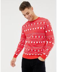 ASOS - Christmas Sweatshirt With Mickey Fairisle Print - Lyst