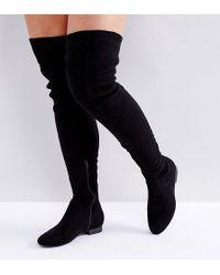 e08e2ec1fcb Hot ASOS - Asos Kasba Wide Fit Flat Over The Knee Boots - Lyst