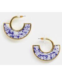 ASOS - Premium Gold Plate Hoop Earrings With Semi-precious Stone Insert - Lyst