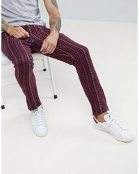 ASOS - Asos Tapered Trousers In Abstract Design - Lyst