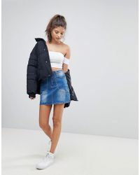 Missguided - Studded Denim Skirt - Lyst