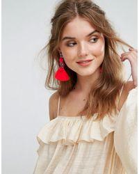 Glamorous - Disc & Tassel Statement Earrings - Lyst