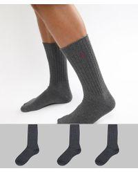 Polo Ralph Lauren - Cotton Rib 3 Pack Socks In Charcoal Marl - Lyst