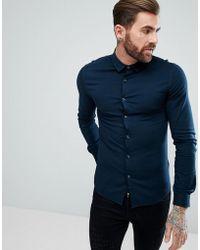 ASOS - Skinny Viscose Shirt In Navy - Lyst