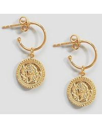 ASOS - Gold Plated Sterling Silver Vintage Style Coin Charm Hoop Earrings - Lyst