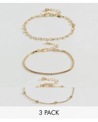 ASOS - Pack Of 3 Disc And Ball Chain Bracelets - Lyst