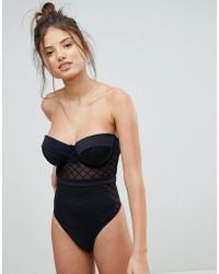 ASOS - Fuller Bust Diamond Mesh Cupped Swimsuit - Lyst