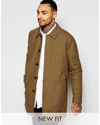 ASOS - Asos Single Breasted Trench Coat With Shower Resistance In Tobacco - Lyst