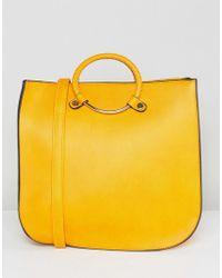 Yoki Fashion - Large Bullring Handle Tote In Yellow - Lyst