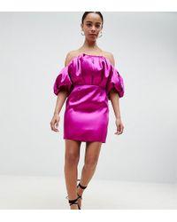 ASOS - Asos Design Petite Puffball Bandeau Mini Dress - Lyst