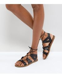 Office - Saffy Black Leather Gladiator Lace Up Sandals - Lyst