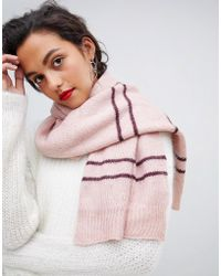 Vero Moda - Knitted Striped Scarf - Lyst