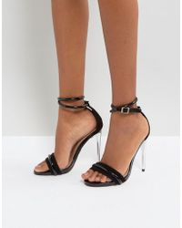 Lost Ink - Black Heeled Sandals - Lyst