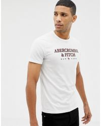 Abercrombie & Fitch - Large Chest Logo T-shirt In White - Lyst