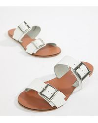 ASOS - Design Wide Fit Victorious Leather Buckle Sliders - Lyst