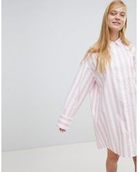 Monki - Stripe Oversized Shirt Dress - Lyst