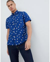 Mango - Man Bird Print Short Sleeves Shirt In Navy - Lyst