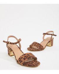 8fad1da9d4bee3 New Look - Leopard Print Block Heel Sandal - Lyst