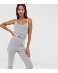 Missguided Ribbed Jumpsuit With Self Belt In Grey