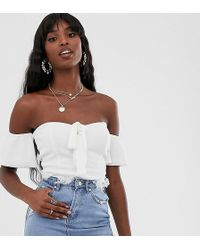 Missguided - Bardot Bodysuit With Tie Front In White - Lyst